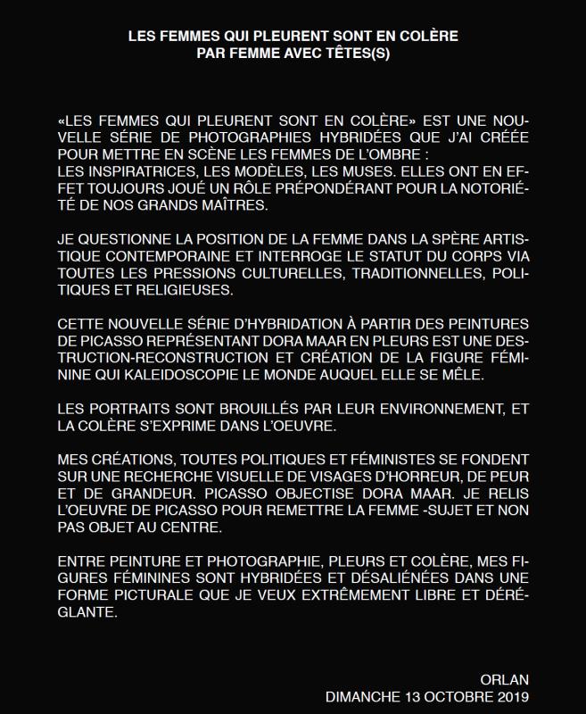 LES FEMMES QUI PLEURENT SONT EN COLÈRE, ORLAN, 2019, 2020