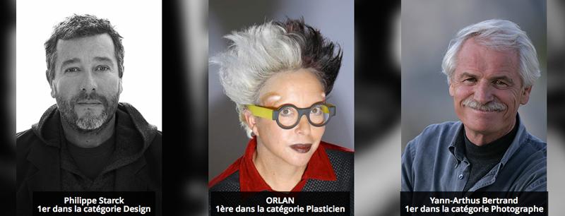 Philippe Starck, premier dans la catégorie design, ORLAN, première dans la catégorie plasticien, Yann Arthus-Bertrand, premier dans la catégorie photographie